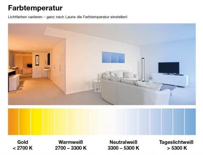 Farbtemperatur Gold bis Tageslicht