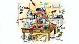 Einbauküche oder Kueche in Aufruhr
