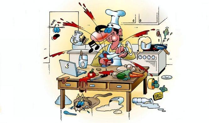 Einbauküche oder Küche in Aufruhr