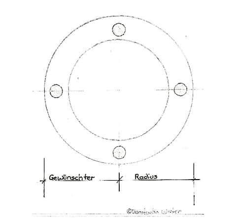 Kreise fräsen - Adventskranz - die Projektskizze