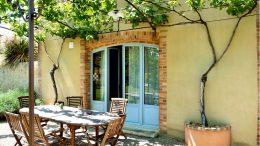 Terrasse mit Weinreben überschattet