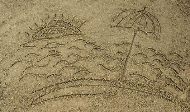 Sonnenschirm richtig aufstellen wenn die Sonne lacht.