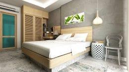 Polierter Betonboden im Schlafzimmer