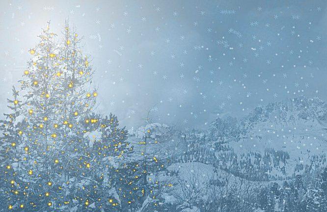 Weihnachtliche Lichterketten in offener Landschaft