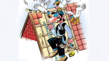 Dachdecker in Not - richtig dachdecken ist manchmal nicht leicht.