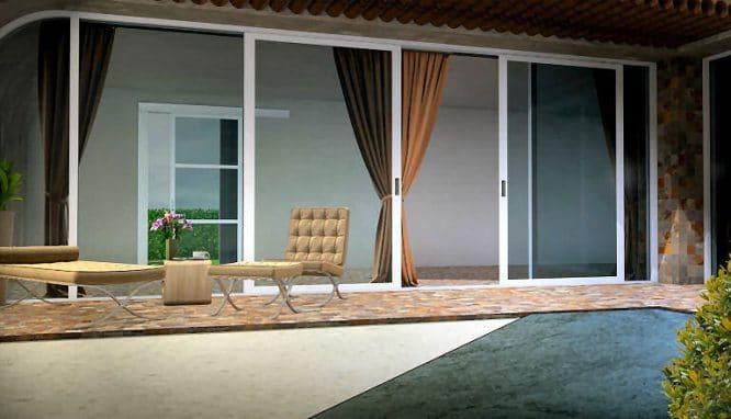 Terrasse mit mehreren Bodenbelägen