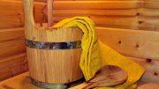 Sauna Schwitzstube - mit Eimer und Handtuch