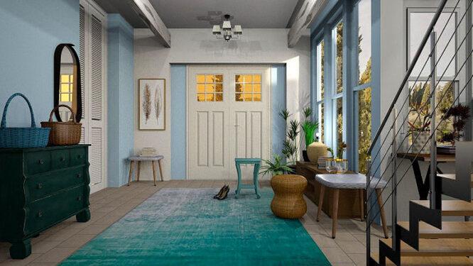 Türkisfarben und ohne Muster - ein Teppich, der nur gut gepflegt was her macht.