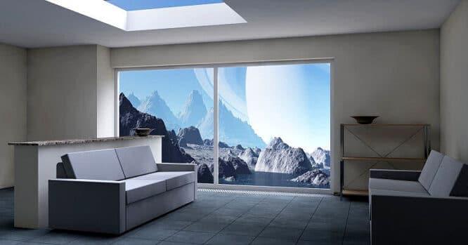 Große Fensterfronten kann man üppig oder auch minimalistisch gestalten.
