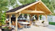 Dieses Gartenhaus ist geeignet für Gartenbesitzer, die gern grillen.